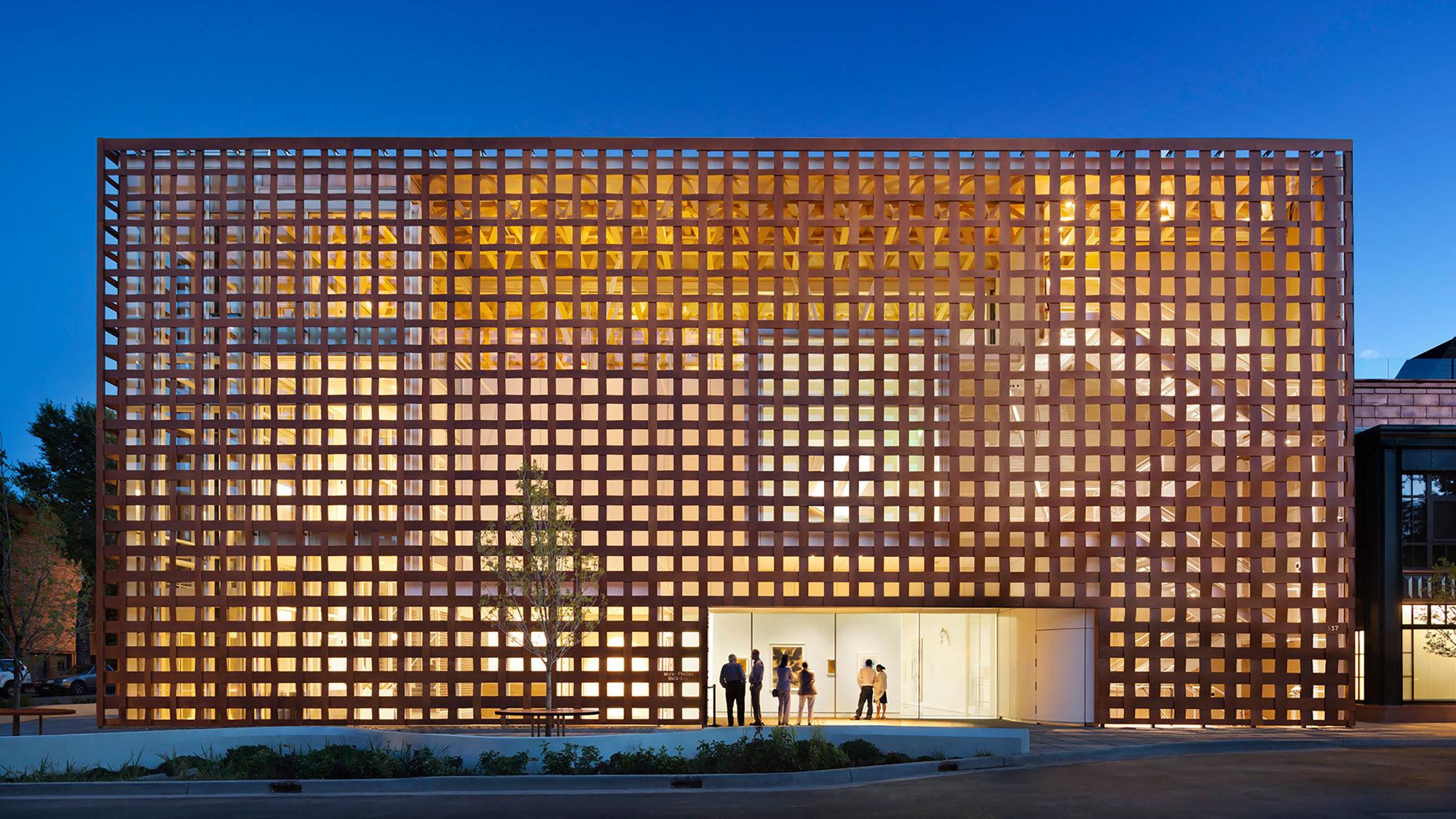 Aspen Art Museum illuminated exterior view