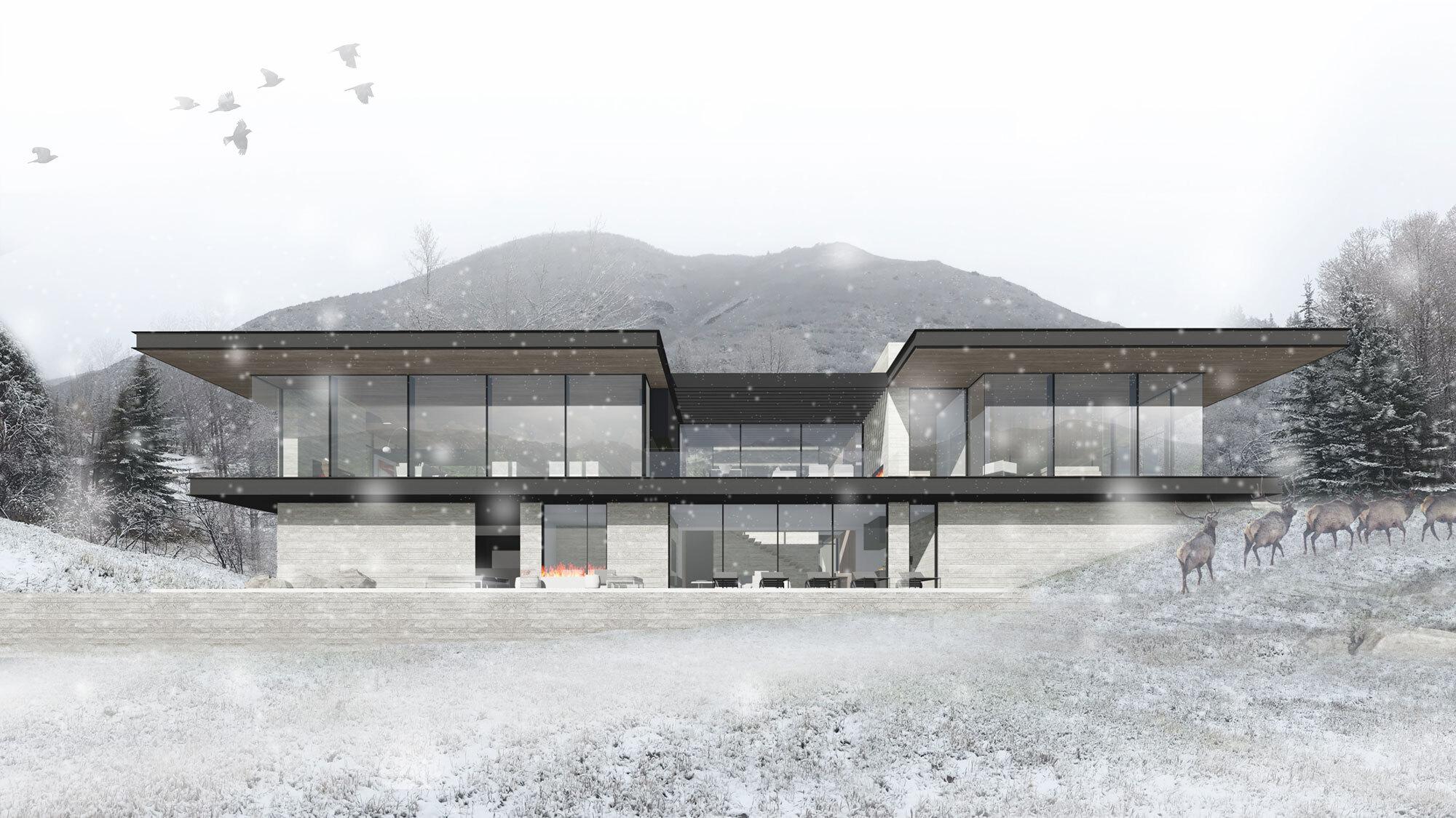 CCY Architects Pavilion House Snow exterior