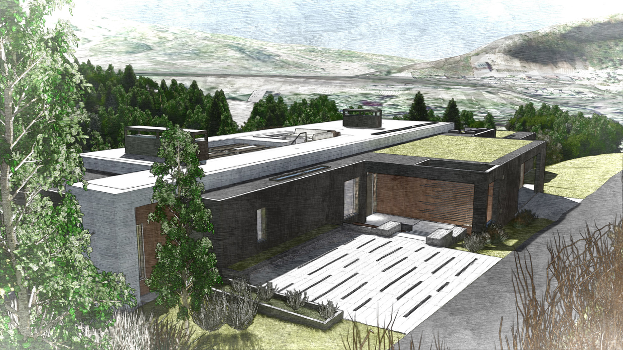 White Stone Entry Rendering